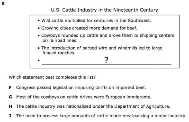 Departments / U.S. History STAAR Released Test Questions