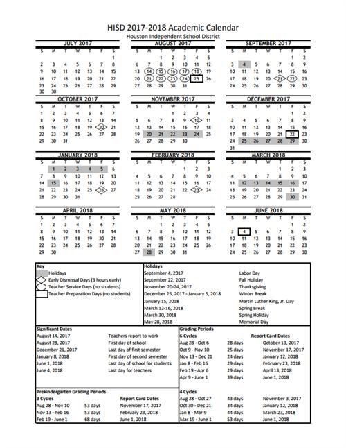 HISD 2017   2018 Academic Calendar