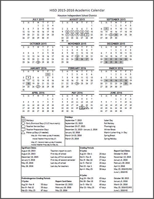 Academics Calendars / 2015   2016 HISD Academic Calendar