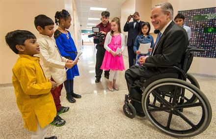 Texas Governor Greg Abbott Visits The School at St. George Place