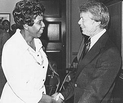 Barbara Jordan with future President Jimmy Carter at the 1976 Democratic National Convention