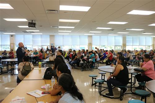 A view of parents attending the meeting