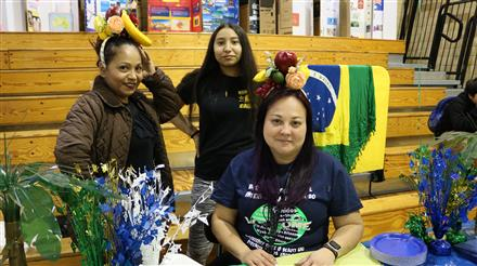 Ms Malik and students in the Brazilian Pavillion