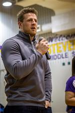 JJ Watt delivers an important life message to our students while visiting Stevenson.