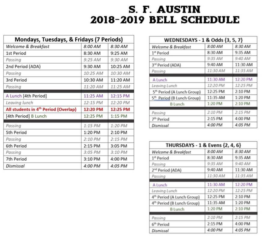 2018 2019 Bell Schedule