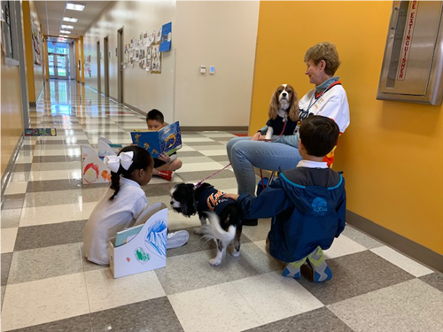 1st graders reading to therapy dogs