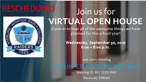 Sterling Virtual Open House September 30, 2020 6:00-8:00PM