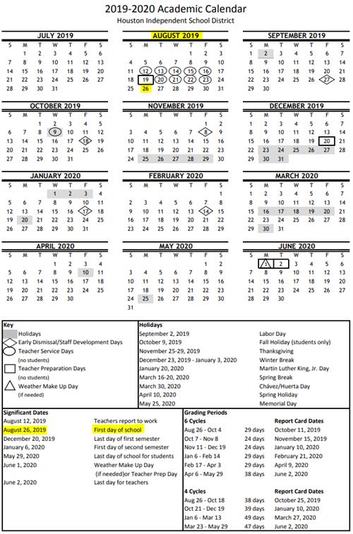 Hisd Calendar 2020-21 2019 2020 Academic Calendar