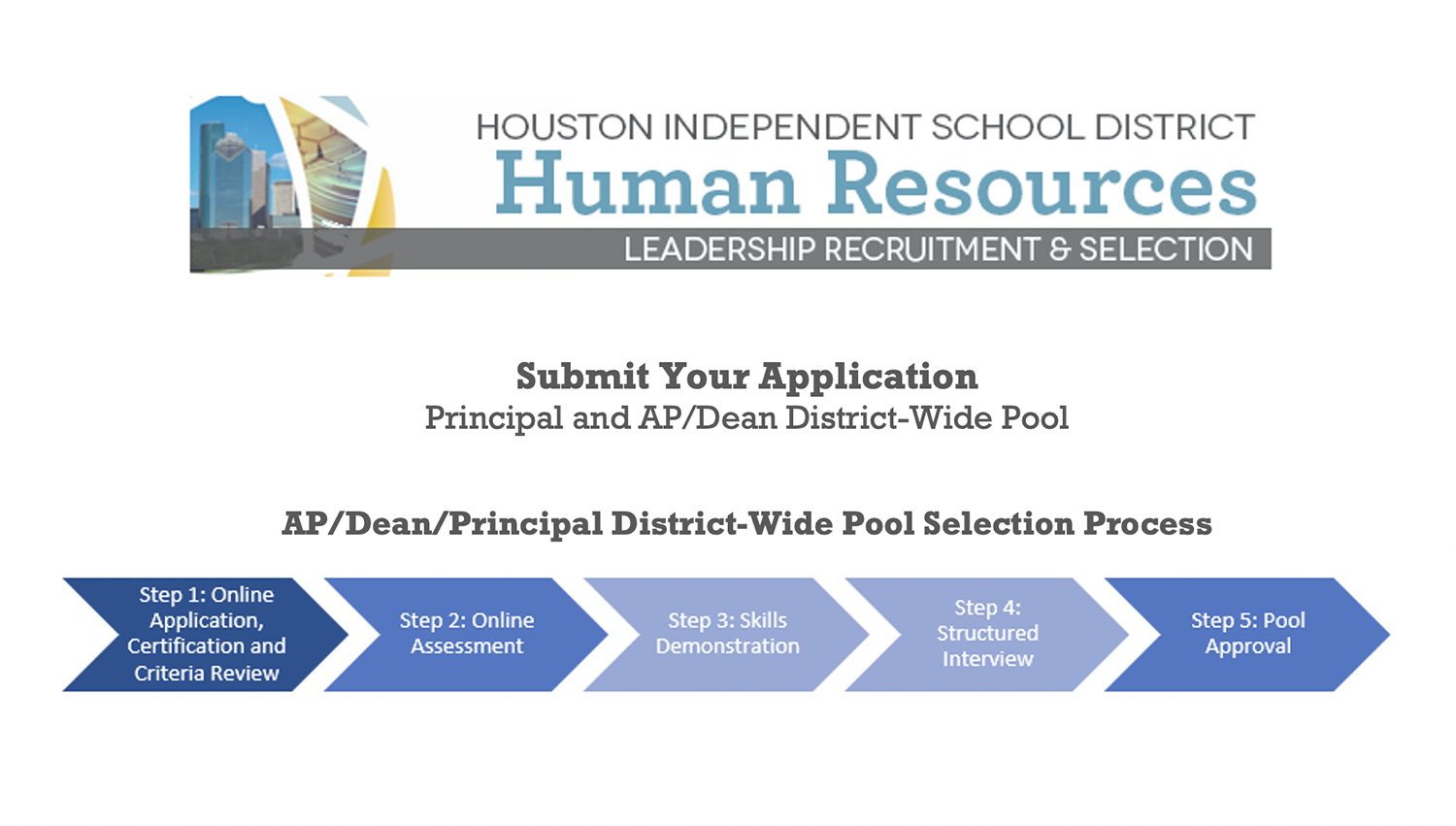 Apply today for HISD's campus leadership selection pool!