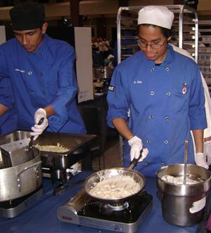Culinary students demonstrating their skills at Community Open House