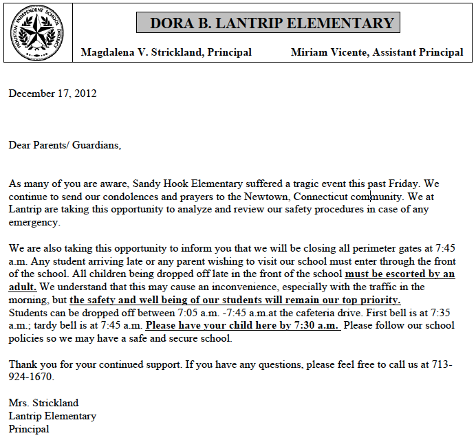 School Safety And Security Procedures Lantrip S Letter To Pas