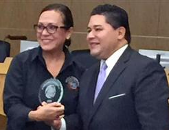 Excellence in Leadership Award Presented to Elena Martinez-Buley by Superintendent Richard Carranza