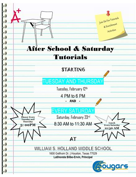 Holland Middle School will begin offering after school tutorials on Tuesdays and Thursdays...