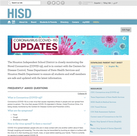 Picture of HISD COVID-19 Website!
