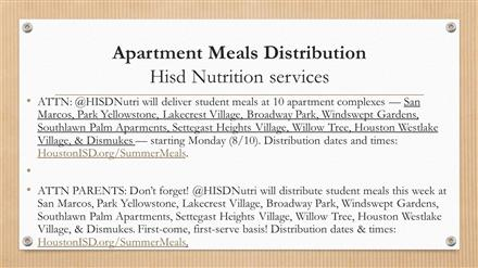 Apartment Meal Distribution