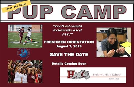 2019 Freshman Pup Camp. Save the Date!