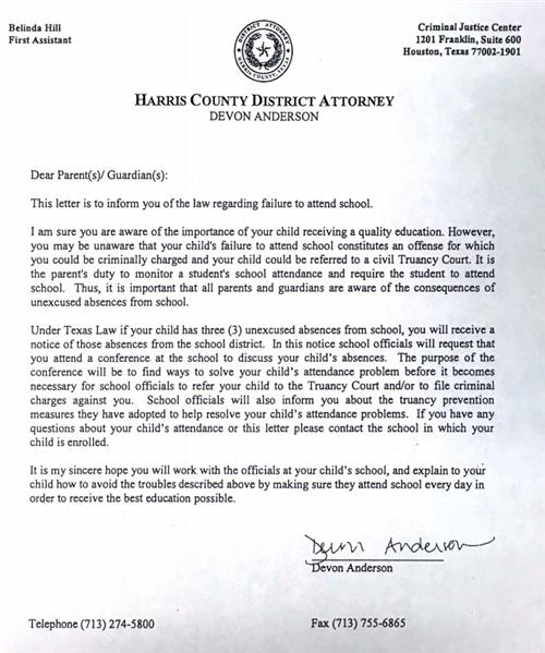Guidance counseling truancy dropout prevention for Truancy letter template