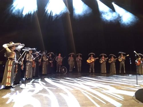 Mariachi students playing on stage