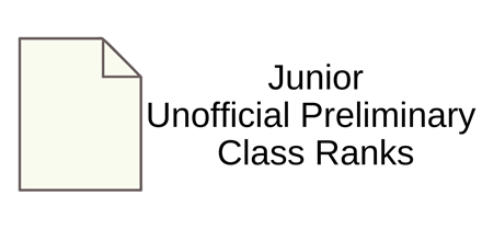 Unofficial Preliminary Class Ranks - Class of 2021