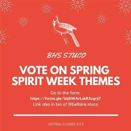 Vote for Spring Spirit Week Themes