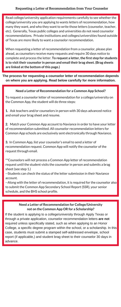 counselors    requesting a letter of recommendation from