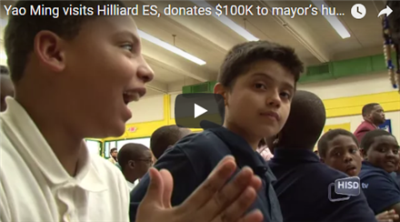 Yao Ming visits Hilliard ES, donates $100K to mayor's hurricane fund