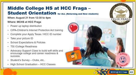 Middle College HS at HCC Fraga – Student Orientation for ALL (Returning and New students)