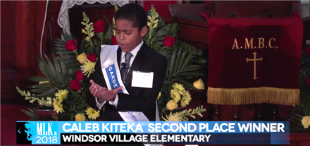MLK 2018 Second Place: Winner Caleb Kiteka, Windsor Elementary