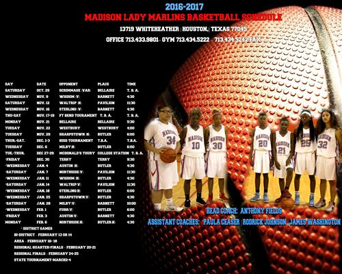 Girl's Basketball Schedule