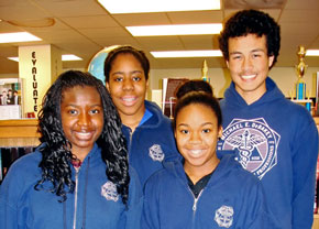 From L to R: DeBakey High School students Rachel Adenekan, Nathalie Meremikwu, Acara Turner and Malcolm Lizzappi