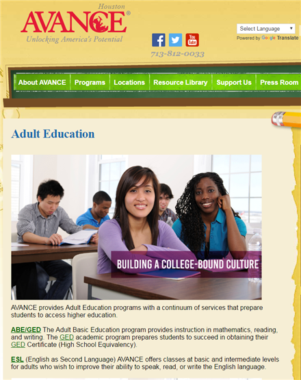 Adult education from AVANCE