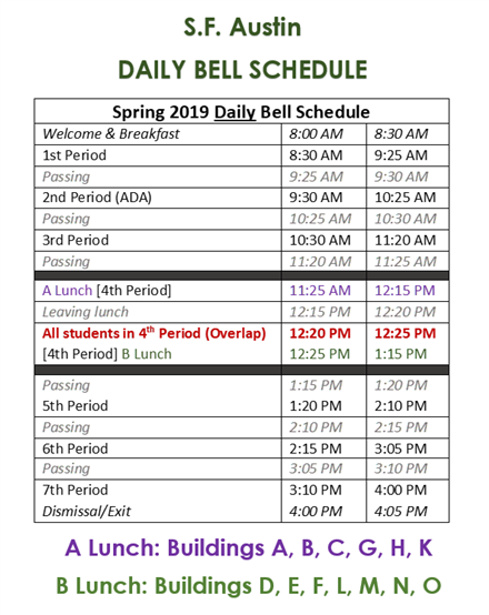 Student Resources / Austin Bell Schedule