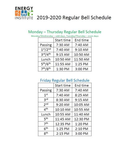 Student Resources / Bell Schedule