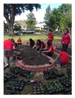 Students plant the first garden beds!