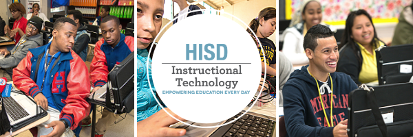 Collage of various photos of students using PowerUp laptops with the HISD Instructional Technology logo overlaid.