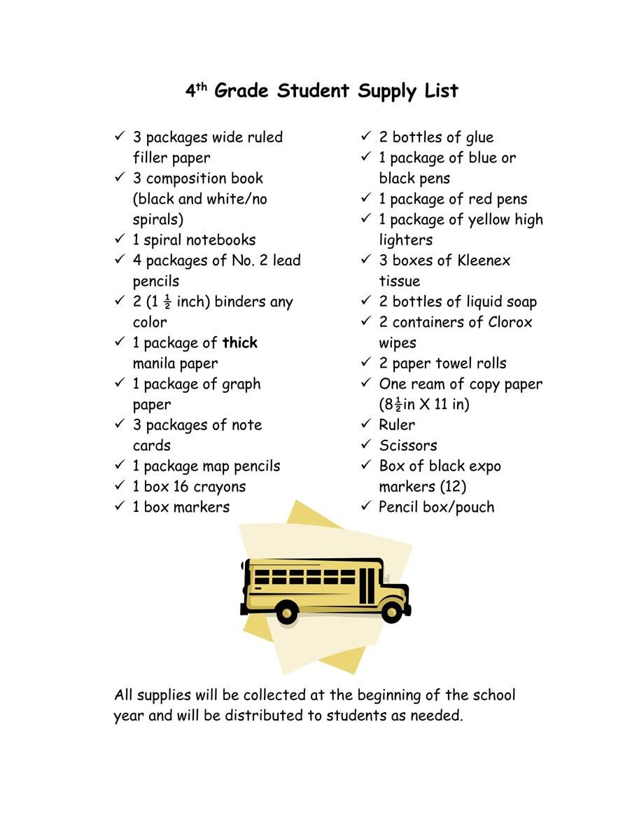 Martin luther king jr middle school supply list