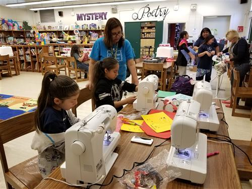 Browning's Sewing Club in action.