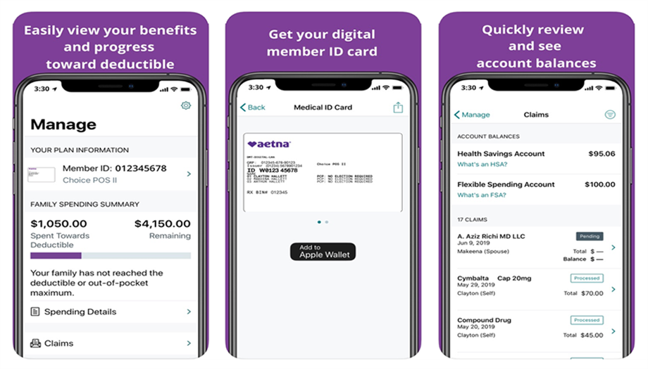 aetna app screens