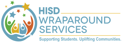 "HISD Wraparound Services logo with slogan ""Supporting Students. Uplifting Communities""."