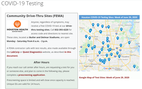 Covid Testing Sites Info