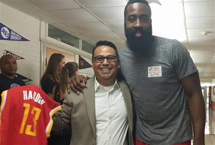 Point Guard/Shooting Guard James Harden visits our campus on October 8, 2015.
