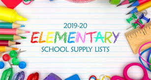 2019 -2020  School Supply List.   All supply list on each grade level