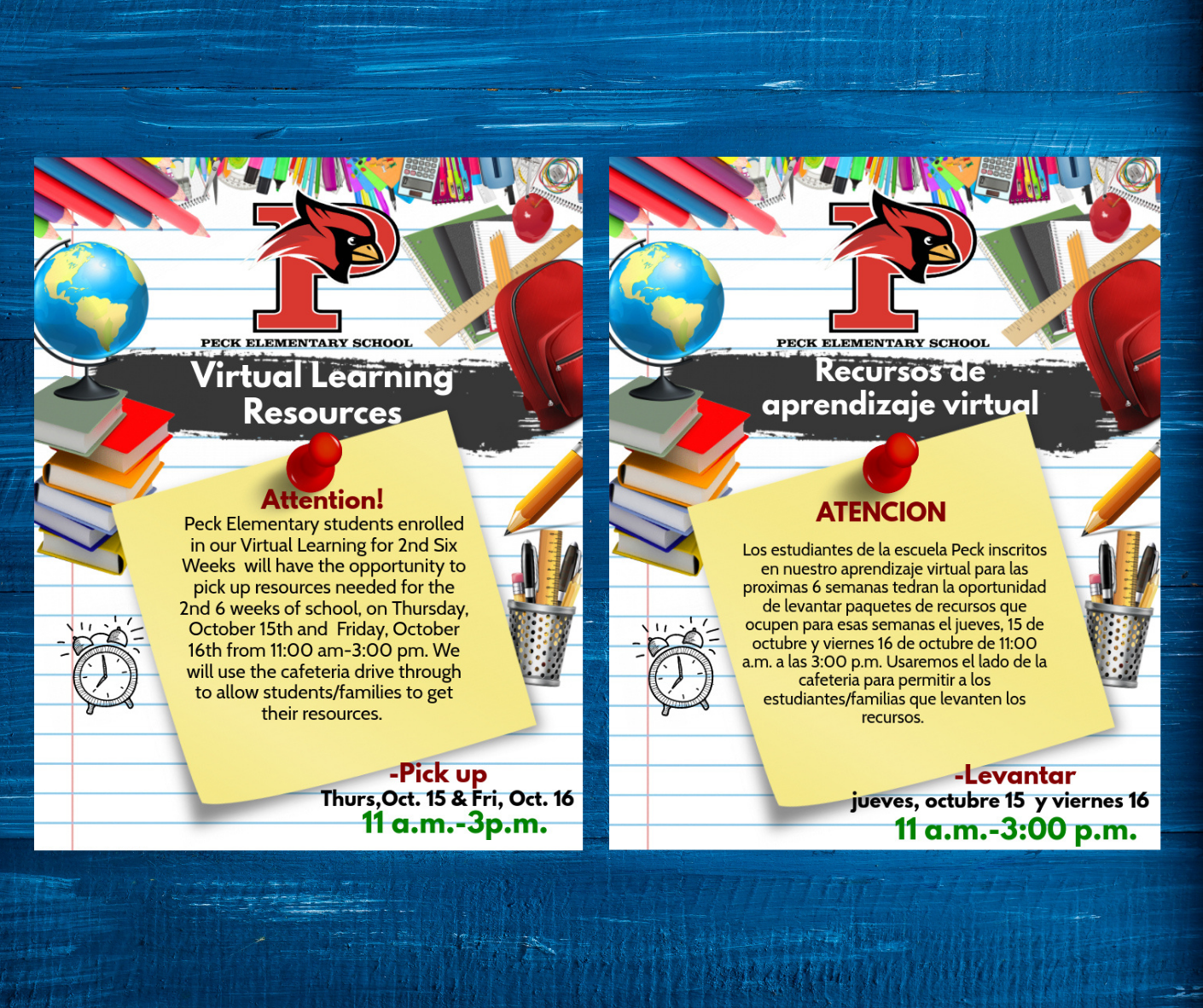 Virtual Learning resources will be available for Peck's 2nd Six Weeks virtual learning students on T