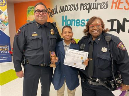 One of our very own recognized by Houston ISD police department for taking swift action to offer assistance