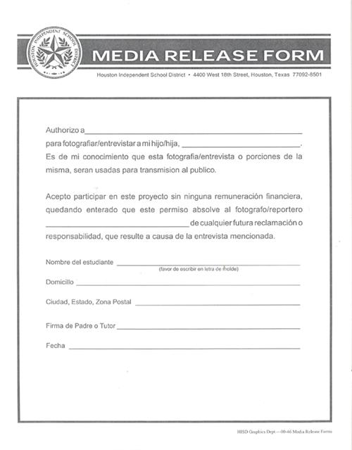 Media Release Form  Resume Template Sample