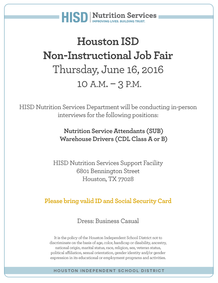 Hisd Job Fair  Food Service
