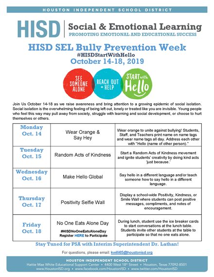 Bully Prevention Week