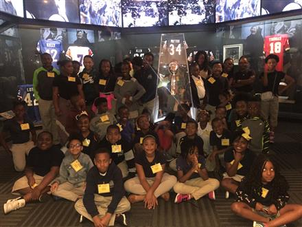Students from Reynolds ES tour Gridiron Glory Exhibit