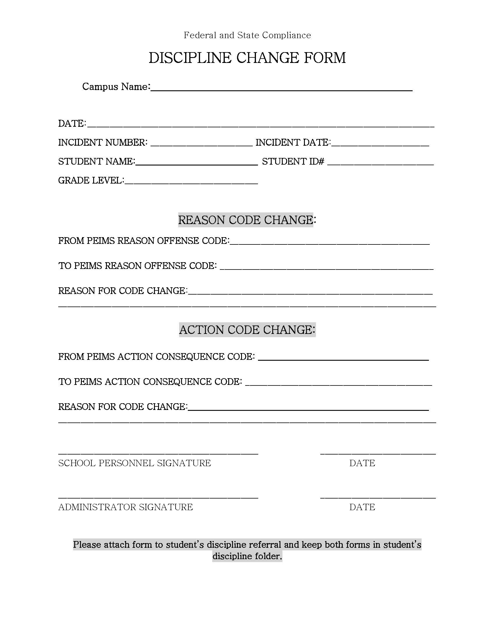 Discipline Change Form