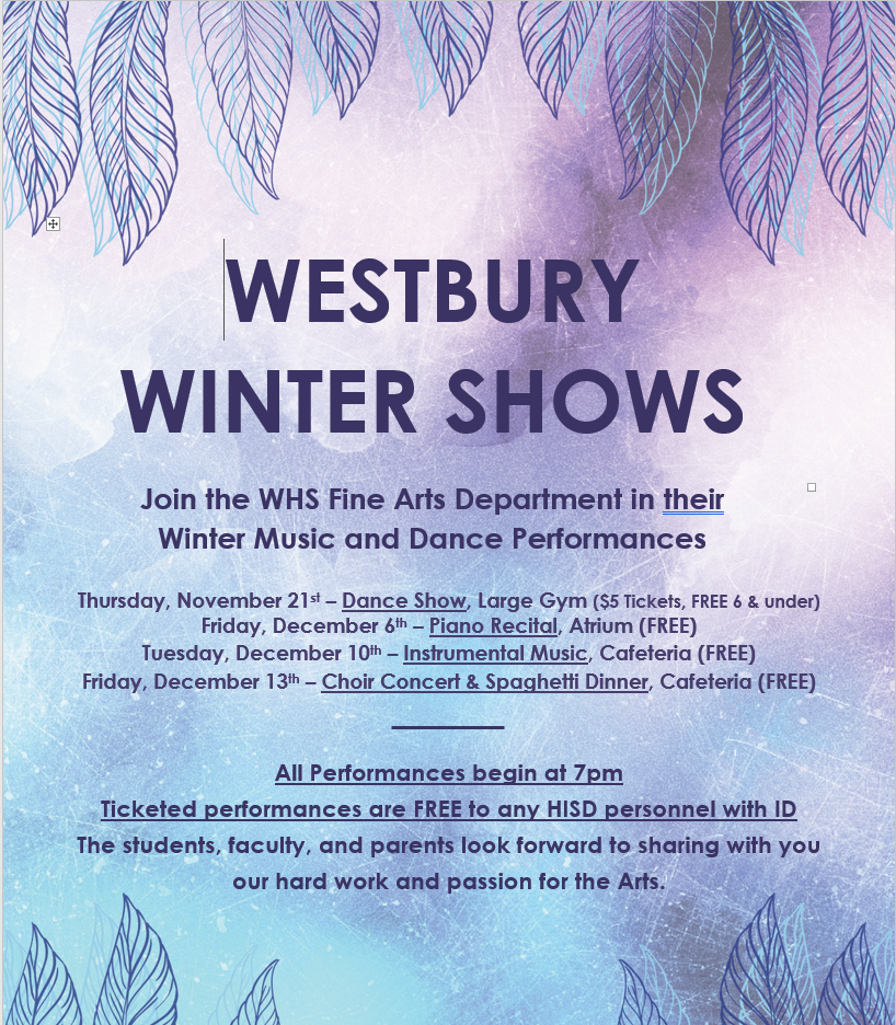 Please join the Westbury Fine Arts Department in their Winter Music and Dance Performances